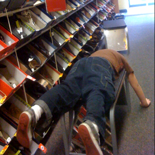 Photo of the day - Nolan loves to shop for shoes on Lower Broadway